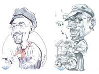 caricatures de Crèvecoeur et de son orgue de Barbarie