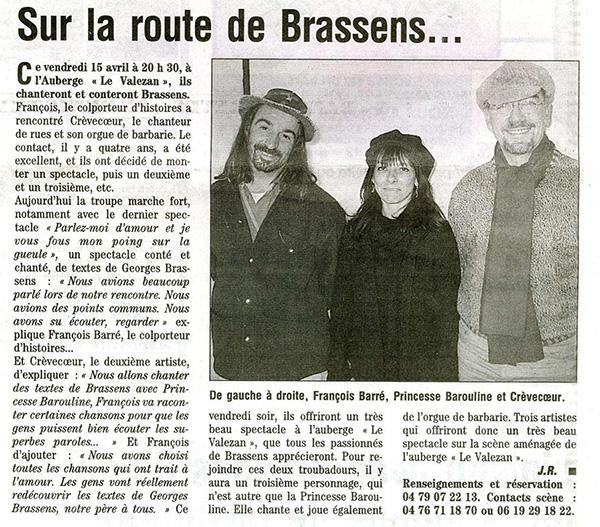 orgue de Barbarie - spectacle Brassens